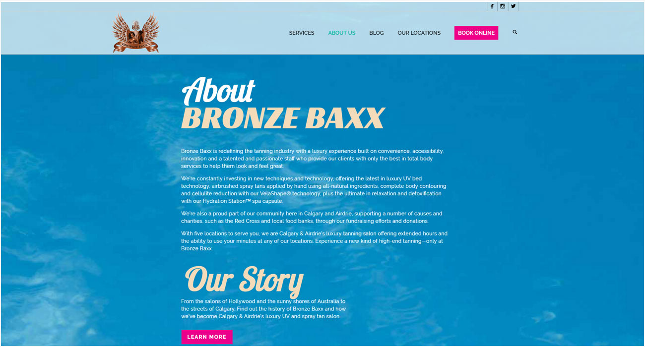 Bronze Baxx Website